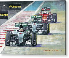 2016 Abu Dhabi Gp Mercedes Hamiltom Rosberg Ferrari Vettel Acrylic Print