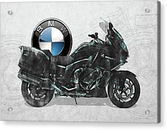 Acrylic Print featuring the digital art 2016 Bmw-k1600gt Motorcycle With 3d Badge Over Vintage Blueprint  by Serge Averbukh
