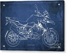 2016 Bmw R1200gs Blueprint Blue Background Acrylic Print