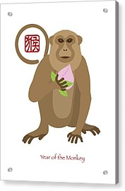 2016 Chinese Year Of The Monkey With Peach Acrylic Print