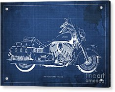 2016 Indian Chief Vintage Motorcycle Blueprint, Blue Background Acrylic Print by Pablo Franchi
