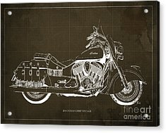 2016 Indian Chief Vintage Motorcycle Blueprint, Brown Background Acrylic Print by Pablo Franchi
