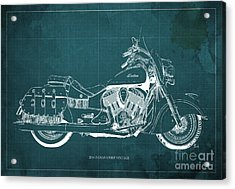 2016 Indian Chief Vintage Motorcycle Blueprint, Green Background. Gift For Men Acrylic Print by Pablo Franchi