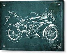 2016 Kawasaki Ninja Zx-6r Blueprint Green Background Gift For Men Acrylic Print