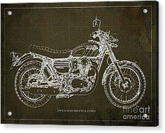 2016 Kawasaki W800 Speciaol Edition Blueprint Brown Background Acrylic Print by Pablo Franchi