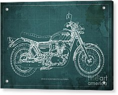 2016 Kawasaki W800 Speciaol Edition Blueprint Green Background Acrylic Print by Pablo Franchi