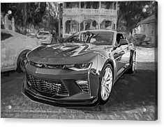Acrylic Print featuring the photograph 2017 Chevrolet Camaro Ss2 Bw by Rich Franco
