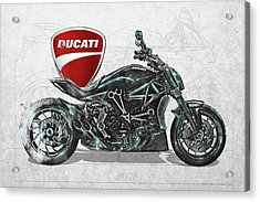 Acrylic Print featuring the digital art 2017 Ducati Xdiavel-s Motorcycle With 3d Badge Over Vintage Blueprint  by Serge Averbukh