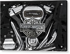 Acrylic Print featuring the digital art 2017 Harley-davidson Screamin' Eagle Milwaukee-eight 114 Engine With 3d Badge by Serge Averbukh