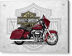 Acrylic Print featuring the digital art 2017 Harley-davidson Street Glide Special Motorcycle With 3d Badge Over Vintage Background  by Serge Averbukh