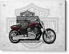 Acrylic Print featuring the digital art 2017 Harley-davidson V-rod Muscle Motorcycle With 3d Badge Over Vintage Background  by Serge Averbukh