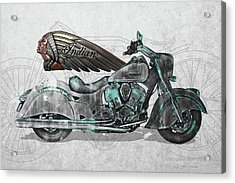 Acrylic Print featuring the digital art 2017 Indian Chief Classic Motorcycle With 3d Badge Over Vintage Blueprint  by Serge Averbukh