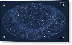 2017 Pi Day Star Chart Hammer/aitoff Projection Acrylic Print by Martin Krzywinski