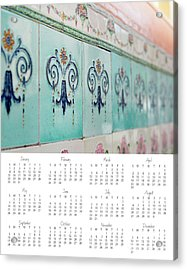 Acrylic Print featuring the photograph 2017 Wall Calendar Blue Ceramic Tiles by Ivy Ho