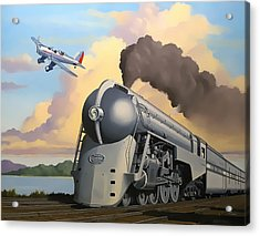 20th Century Limited And Plane Acrylic Print