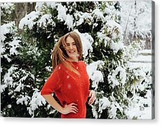 Beautiful Young Girl Model In Winter In A Parked Park. In A Red Sweater. Acrylic Print by Oleksandr Masnyi