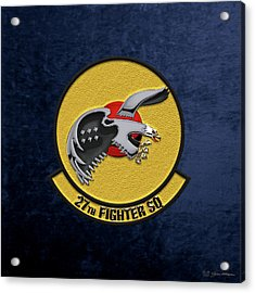 Acrylic Print featuring the digital art 27th Fighter Squadron - 27 Fs Over Blue Velvet by Serge Averbukh