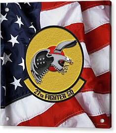 Acrylic Print featuring the digital art 27th Fighter Squadron - 27 Fs Patch Over American Flag by Serge Averbukh