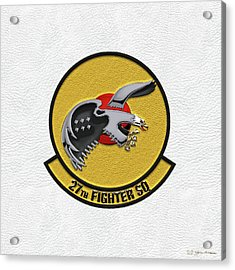 Acrylic Print featuring the digital art 27th Fighter Squadron - 27 Fs Patch Over White Leather by Serge Averbukh