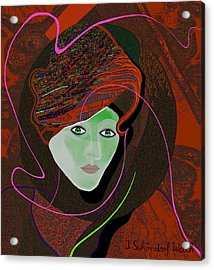 289 - Anna  With  Dark Red Cap Acrylic Print by Irmgard Schoendorf Welch