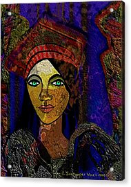 299 - Woman With Red Hat   Acrylic Print by Irmgard Schoendorf Welch