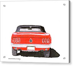 Acrylic Print featuring the painting 1969 Mustang Convertible by Jack Pumphrey