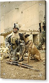 A Dog Handler And His Military Working Acrylic Print by Stocktrek Images