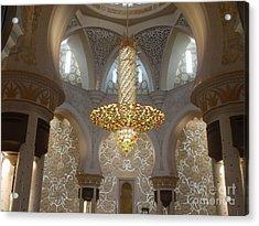 Abu Dhabi Sheikh Zayed Mosque Acrylic Print by Valia Bradshaw