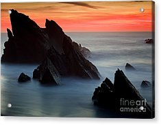 Adraga Beach In Sintra Natural Park Acrylic Print by Andre Goncalves