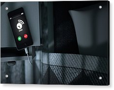 Alarming Cellphone Next To Bed Acrylic Print by Allan Swart