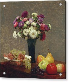 Asters And Fruit On A Table Acrylic Print by Henri Fantin-Latour