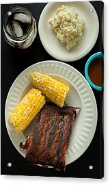 Barbecue Pork Spare Ribs With Corn And Potato Salad Acrylic Print