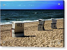 3 Beach Chairs Acrylic Print by Hannes Cmarits