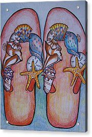 Acrylic Print featuring the drawing Beach Shoes by Leslie Manley
