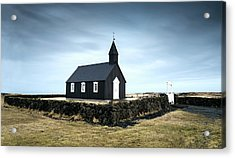 Acrylic Print featuring the photograph Black Church Of Budir, Iceland by Michalakis Ppalis