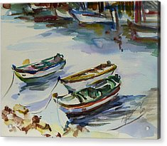 Acrylic Print featuring the painting 3 Boats I by Xueling Zou