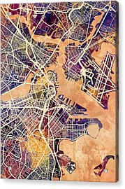 Boston Massachusetts Street Map Acrylic Print
