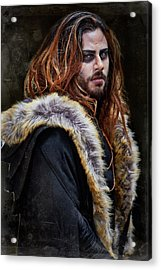 Brunette Long Haired Man With Shaved Sides In Steampunk Theme Acrylic Print