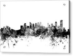 Calgary Canada Skyline Acrylic Print by Michael Tompsett