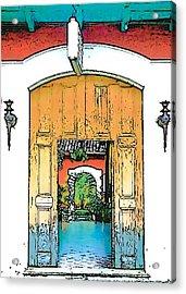 Central America Courtyard Acrylic Print by Lisa Dunn
