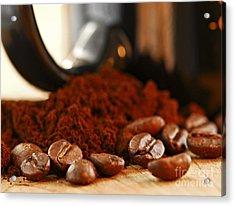 Coffee Beans And Ground Coffee Acrylic Print by Elena Elisseeva