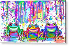 Acrylic Print featuring the painting 3 Colorful Painted Frogs by Nick Gustafson