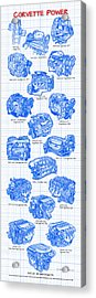 Corvette Power - Corvette Engines Blueprint Acrylic Print