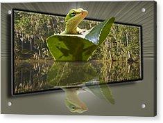 3-d Reflecting Lizard Acrylic Print by Michael Whitaker