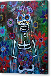 Day Of The Dead Bride Acrylic Print by Pristine Cartera Turkus
