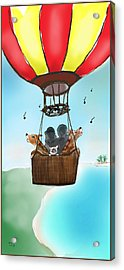 3 Dogs Singing In A Hot Air Balloon Acrylic Print