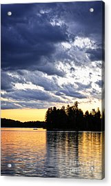 Dramatic Sunset At Lake Acrylic Print by Elena Elisseeva