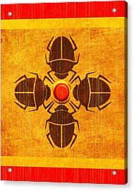 Acrylic Print featuring the digital art Egyptian Scarab Beetle by John Wills