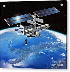 Eneide Mission To The Iss, Artwork Acrylic Print by David Ducros