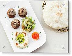 Falafel Hummus Houmus Starter Snack Food Mezze Platter Acrylic Print
